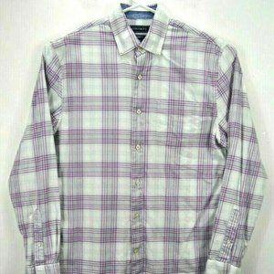 Crown & Ivy Men Shirt S Purple Plaid Long Sleeves